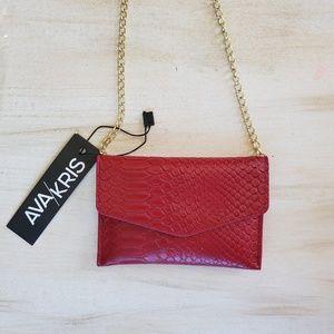 Ruby Red Snake Crossbody Bag